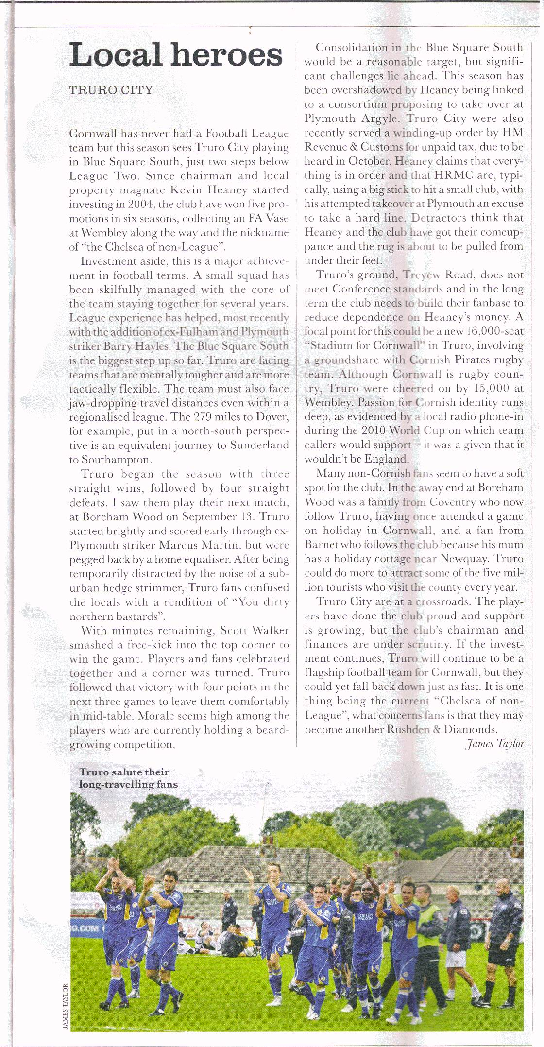 Truro City FC article When Saturday Comes November 2011 by James Taylor